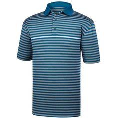 FootJoy Men's Stretch Pique Stripe Golf Polo, Size: Small, Blue/Heather Grey/White #GolfPolo