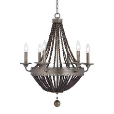 THURSBY 6 LIGHT CHANDELIER - Fluted metal beads in an oxidized aged brass finish cross into many trends on this classic empire chandelier body. The beads are stung by hand so some variations are expected due to this hand assembly process. Empire Chandelier, Beaded Chandelier, Chandelier Lighting, Chandeliers, Uttermost Lighting, Online Lighting Stores, Transitional Wall Sconces, Candelabra Bulbs, Chandelier