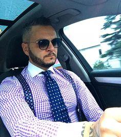 Suspenders Fashion, Mens Braces, Designer Suits For Men, Dapper Dan, Smart Outfit, Classy Men, Well Dressed Men, Free Clothes, Mens Suits