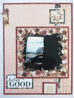 Feeling good - page made with Auburn Lane collection Happy Mail, Auburn, Scrapbook Pages, Feel Good, Gallery Wall, Kit, Feelings, Frame, Flowers