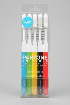 Kikkerland Pantone Toothbrush - Set Of 5.. not wild about the colors at all, though.