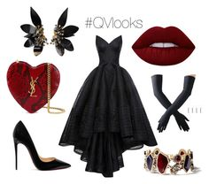 """""""Red queen"""" by vera-vashchenko on Polyvore featuring HUISHAN ZHANG, Christian Louboutin, Yves Saint Laurent, Lime Crime, Black, Chloe + Isabel and Marni"""