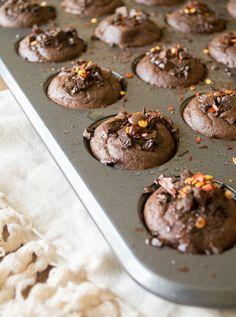 Fudgy Flourless Chocolate Chili Muffins | LemonsandBasil.com