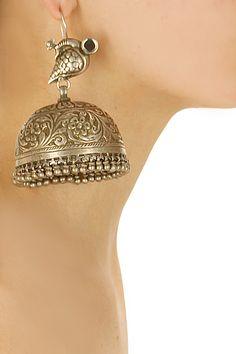Silver finish peacock oversized jhumki earrings by Sangeeta Boochra. Shop now: http://www.perniaspopupshop.com/designers/sangeeta-boochra #earrings #sangeetaboochra #shopnow #perniaspopupshop