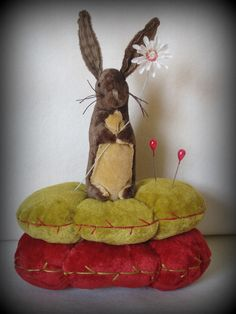 Little Bunny Pinkeep and Daisy Pincushion by cheswickcompany