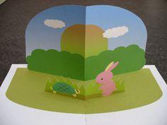☆うさぎとかめの飛び出すしかけ絵本を組み立てる2☆ 飛び出す絵本・しかけ絵本・ポップアップカードの作り方