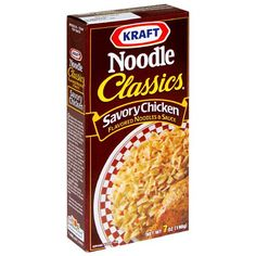 Kraft chicken noodle dinner mix -- an absolute fave. Sadly, discontinued. Would love to see a pic of the old box. -- Amazon.com : Kraft Noodle with Savory Chicken, 7-Ounce Boxes (Pack of 12) : Packaged Noodle Dinner Kits : Grocery & Gourmet Food