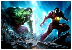 Vamers - Artistry - What if your favourite superhero had a corporate sponsorship - Iron-Man sponsored by MacDonalds VS Hulk sponsored by Monster Energy Drinks