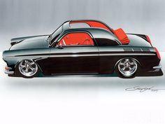 Illustration by Steve Stanford Car Design Sketch, Car Sketch, Chip Foose, Baggers, Volkswagen Transporter, Volkswagen Golf, Audi Tt, Ford Gt, Volvo