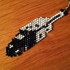 Silver and black delica seed bead earrings