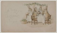 'A Happy Christmas to You' (circa 1890). Watercolour with pen and ink by Beatrix Potter (1866–1943 ). Image and text courtesy MFA Boston.