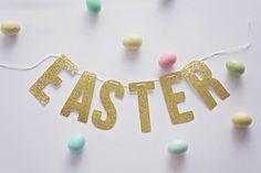 Gold Glitter Easter Banner by FettiandFizz on Etsy
