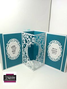 6x6 pop out card using Crafter's Companion Classic Floral Frame create a card die. Designed by Debbie James #crafterscompanion