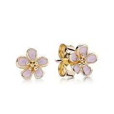 Pandora 14K Cherry Blossom with Pink Enamel Stud Earrings