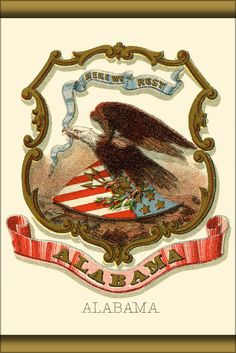 24x36 Poster; Alabama State Coat Of Arms (Illustrated, 1876)