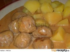 Švédské masové kuličky Czech Recipes, No Salt Recipes, Pretzel Bites, Food And Drink, Potatoes, Sweets, Bread, Cheese, Dinner
