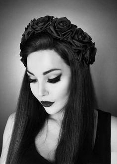 "Headband / Serre-tête Gothique Restyle ""Black Roses"""