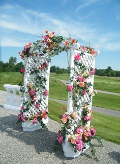 One of the many rental pieces we have available for your special day. This arch can be decorated with flowers in your wedding color scheme. It really helps to define space in an outdoor setting. #arch #wedding #bride #ceremony #weddingceremony #outdoorwedding #weddingdecor #Sunnyslopefloral