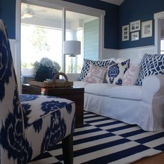 White And Navy Living Room Design Ideas, Pictures, Remodel, and Decor