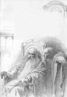 Theoden and Grima in Edoras sketchAlan Lee