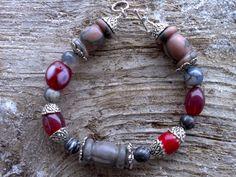 Marbleglasssilver beaded bracelet 8 inch by windinhishare on Etsy, $9.39