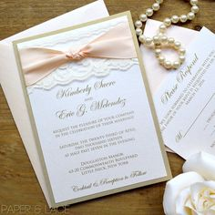 Gold and Ivory Lace Wedding Invitation  by PaperLaceBoutique