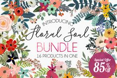 Floral Soul Bundle - 85% Off by Mia Charro on @creativemarket