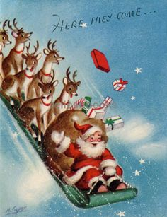 Vintage Christmas Card by Marjorie Cooper ~ Santa & Crew on a Sled! Vintage Christmas Images, Retro Christmas, Vintage Holiday, Christmas Pictures, Christmas Art, Christmas Decorations, Christmas Mantles, Christmas Villages, Silver Christmas