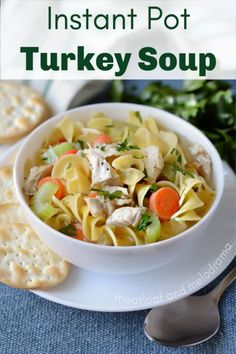 Instant Pot Turkey Soup is made from homemade leftover turkey bone broth (stock) from a turkey carcass. Turkey noodle soup is easy to make and a perfect way to use up Thanksgiving leftovers! Instant Pot Turkey Soup, Instant Pot Dinner Recipes, Easy Soup Recipes, Noodle Recipes, Turkey Soup From Carcass, Turkey Noodle Soup, Homemade Turkey Soup, Leftover Turkey Soup, Pressure Cooker Turkey