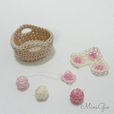 Dollhouse crochet work in progress in scale 1:12 basket by MiniGio