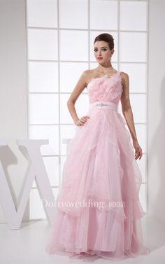 #Valentines #AdoreWe #Dorris Wedding - #Dorris Wedding Pastel Ruffled A-Line Tulle Single Strap and Dress With Jeweled Waist - AdoreWe.com
