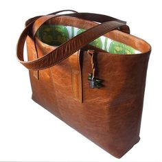 Classic Tan Leather Tote Hand Made to Order by The Eaton Bag Company