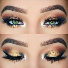 Gold & Green Eyeshadow Pigment + Lashes + Highlight Inner V