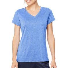Hanes Sport Women's Heathered Performance V-Neck Tee, Size: 2XL, Blue