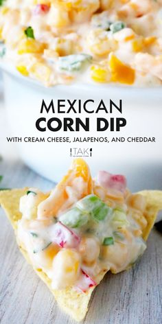 A quick and easy Mexican Corn Dip Recipe made with cream cheese and jalapeños! Serve this party dip alongside Fritos, tortilla chips, or even vegetables! Cream Cheese Dips, Cream Cheese Recipes, Corn Dip With Cream Cheese Recipe, Mexican Cream Cheese Dip, Appetizers With Cream Cheese, Appetizer Dips, Appetizers For Party, Delicious Appetizers, Mexican Appetizers Easy