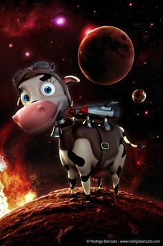 3D cow character art for Milkway game by Rodrigo Banzato (http://rodrigobanzato.com)