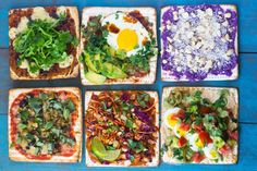 Clockwise from top left: French, Mexican, Hawaiian, Mediterranean, Thai and Italian matzah toppings Passover Recipes, Jewish Recipes, New Recipes, Holiday Recipes, Passover Food, Kosher Recipes, Cooking Recipes, Matzo Meal, Sandwiches