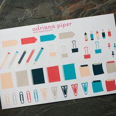 Office/School Sampler 43 ct for Erin Condren Life Planner, Plum Paper Planner, Filofax, Kikki K, Calendar or Scrapbook by adrianapiper on Etsy