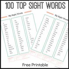 100 sight words free printable