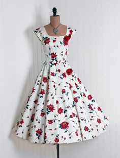 Party Dress: 1950's, watercolor roses on silk taffeta, heavily-appliqued rhinestone bodice.