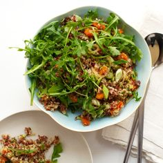 In this fluffy salad, Yotam Ottolenghi blends South American quinoa with nutty Camargue red rice from southern France. The salad gets a fruity sweetne...