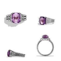 """DAVID YURMAN petite Wheaton Amethyst Ring Authentic petite Wheaton Amethyst Ring by David Yurman. Beautiful cut amethyst gemstone set on signature silver """"twisted cord""""  band that branches into 3's on each side. Flanked by genuine diamonds. Please google the ring style to be certain of the size and look! This is a size 5. Orig. $495.  NO TRADES! SEE LAST IMAGE FOR EXACT SIZE!!! THIS ITEM IS ALREADY $245 DISCOUNTED NO LOW-BALLING! REASONABLE OFFERS ONLY!!! David Yurman Jewelry Rings"""