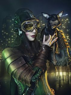 Rebeca Saray Steampunk Photography (woman holding dog, woman wearing Steampunk goggles and armor, corset, Steampunk pilot)