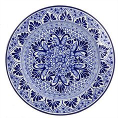 Talavera ceramic dinner plate, 'Cholula Blossoms' - Handcrafted Authentic Mexican Blue Talavera Ceramic Plate