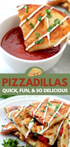 Pizzadillas are all the gooey and cheesy pizza toppings you love inside of warm flour tortillas. They're quesadillas meets pizza and they're perfect Super Bowl Party-Food! Pizza Recipes, Side Dish Recipes, Appetizer Recipes, Great Recipes, Appetizers, Favorite Recipes, Side Dishes, Quick Weeknight Meals, Easy Meals
