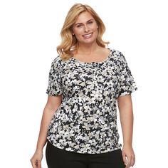 Plus Size Croft & Barrow® Henley Tee, Women's, Size: 3XL, Black