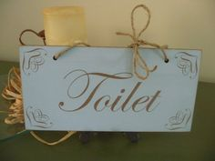 Shabby Chic Toilet Sign Toilet Door Sign Distressed by Crafu