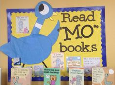 """Love this! Cute way spotlight Mo Willems Elephant and Piggies books....and """"Mo!"""""""
