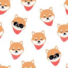 kawaii shiba inu cute cool Art Print by - X-Small Badge Design, Dog Design, Design Art, Shiba Inu, Cartoon Dog, Cute Cartoon, Chibi Dog, Cute Husky, Dog Poster