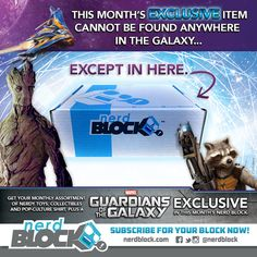 We have our first Nerd Block March 2015 box spoilers! The March 2015 Nerd Block Classic Block will feature a Marvel item that comes with an exclusive Dancing Baby Groot!